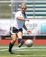 CFC Passion defender Shannon Larkin (9) passes the ball. In a Women's Premier Soccer League (WPSL) match, Aztec MA defeated CFC Passion, 4-0, at North Reading High School Stadium on July 1, 2012.