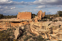 Hovenweep Castle, Square Tower group, built 1150-1350, Little Ruin Canyon, Hovenweep National Monument, Colorado, USA. The Square Tower group housed up to 500 people and includes towers, residential areas, kivas and storage rooms. This area has been settled by Native Americans from 6000 BC until the 14th century AD and currently houses the ruins of 6 Anasazi Puebloan villages from the 13th century. Picture by Manuel Cohen