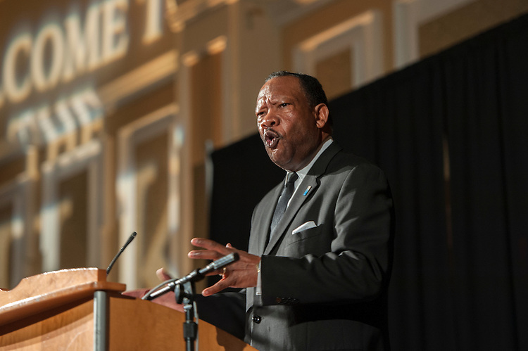 Jim Lucas, the keynote speaker of the 15th annual Martin Luther King Jr. brunch, delivers a speech on the life and times of Dr. King in Baker University Center Ballroom on Monday, January 19.