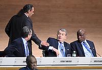 Fussball International Ausserordentlicher FIFA Kongress 2016 im Hallenstadion in Zuerich 26.02.2016 Vitaly MUTKO (Russland, FIFA-Exekutivkomitee), Scheich Ahmad Al Fahad AL SABAH (Kuwait, FIFA-Exekutivkomitee), Wolfgang NIERSBACH (Deutschland, FIFA-Exekutivkomitee) und Constant OMARI (v.li, Kongo DR, FIFA-Exekutivkomitee)