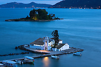 Famous monastery convent Panagia Vlahernon off Kanoni Peninsula in Kerkyra, Corfu Town, Ionian Islands, Greece