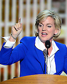 Former Governor Jennifer Granholm (Democrat of Michigan) makes remarks at the 2012 Democratic National Convention in Charlotte, North Carolina on Thursday, September 6, 2012.  .Credit: Ron Sachs / CNP.(RESTRICTION: NO New York or New Jersey Newspapers or newspapers within a 75 mile radius of New York City)