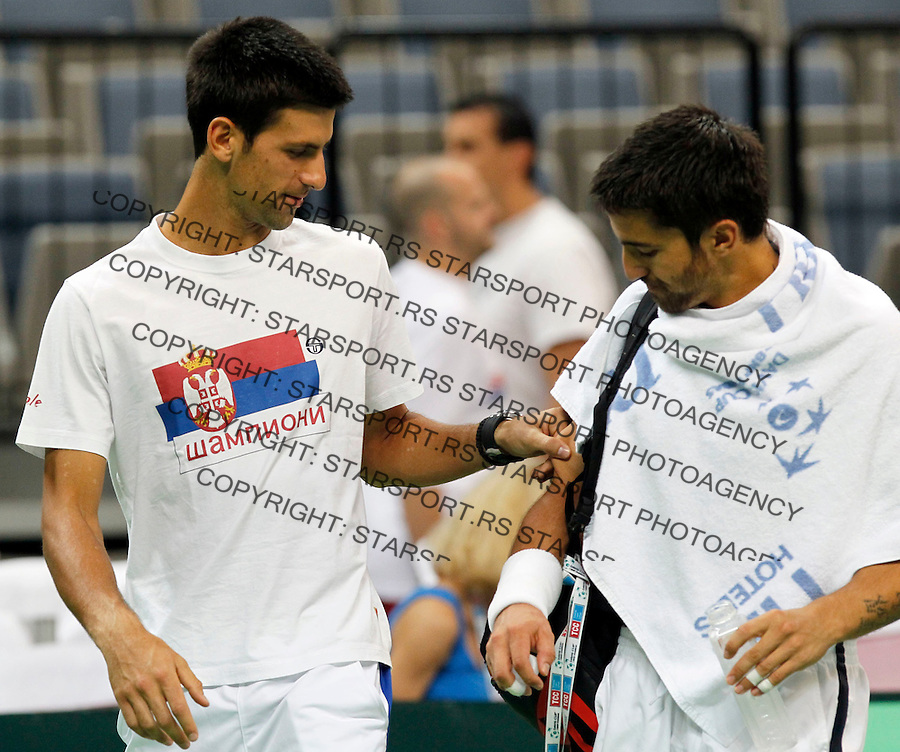 Tenis, Davis Cup 2011.Serbia Vs. Argentina, semifinal.Practice session.Novak Djokovic and Janko Tipsarevic.Beograd, 15.09.2011..foto: Srdjan Stevanovic/Starsportphoto ©