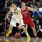 Davidson's Brian Sullivan (3) guards Iowa's Jarrod Uthoff ( 20) during 2015 NCAA Division I Men's Basketball Championship March 20, 2015 at the Key Arena in Seattle, Washington.  Iowa beat Davidson 83-52.   ©2015. Jim Bryant Photo. ALL RIGHTS RESERVED.