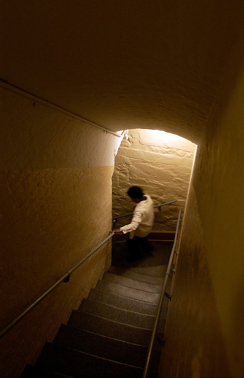 A woman descends a stairway from the first floor of the Capitol to the basement.  The stairway is located near the carriage entrance on the House Side of the Capitol.