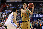 11 March 2016: Notre Dame's Steve Vasturia (32) and North Carolina's Marcus Paige (left). The University of North Carolina Tar Heels played the University of Notre Dame Fighting Irish at the Verizon Center in Washington, DC in the Atlantic Coast Conference Men's Basketball Tournament semifinal and a 2015-16 NCAA Division I Men's Basketball game. UNC won the game 78-47.