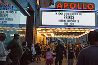 """NEW YORK APRIL 21Harlem pays tribute to Prince at the Apollo Theater . During the course of his legendary career, Prince made several appearances at the famed Apollo Theater in Harlem, and the theater played his music as the marquee read """"Nothing Compares 2 U"""".The pop star die a few hours ago at the age of 57. in Harlem, New York City, Friday, April 22, 2016. Photo by VIEWpress/Maite H. Mateo"""