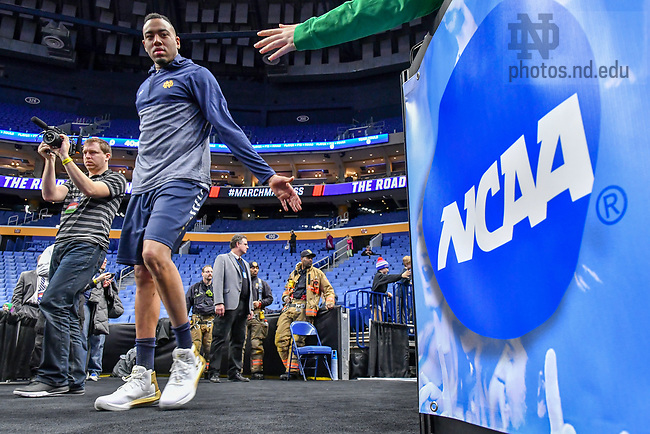 March 15, 2017; Men's Basketball practice at the Key Bank Center at the 2017 NCAA Tournament. (Photo by Matt Cashore/University of Notre Dame)