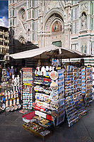 Souvenir stall selling guidebooks, maps and souvenirs in Piazza di San Giovanni, Tuscany, Italy