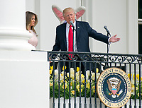 United States President Donald J. Trump makes opening remarks as he and first lady Melania Trump host the annual Easter Egg Roll on the South Lawn of the White House in Washington, DC on Monday, April 17, 2017.<br /> CAP/MPI/CNP/RS<br /> &copy;RS/CNP/MPI/Capital Pictures