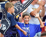Landover, MD - SEPT 24, 2016: Young BYU fans are ready for the game against West Virginia at FedEx Field in Landover, MD. (Photo by Phil Peters/Media Images International)