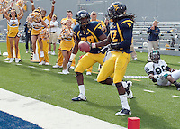 September 4, 2010: WVU Terence Garvin #28 and Brandon Hogan (22) celebrate Hogan's interception in the endzone. The West Virginia Mountaineers defeated the Coastal Carolina Chanticleers 31-0 on September 4, 2010 at Mountaineer Field, Morgantown, West Virginia.