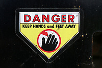 General view of the Danger Keep Hands and Feet Away sign ahead of Kent Spitfires vs Essex Eagles, Royal London One-Day Cup Cricket at the St Lawrence Ground on 17th May 2017