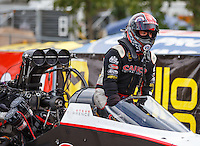 Aug 20, 2016; Brainerd, MN, USA; NHRA top fuel driver Steve Torrence during qualifying for the Lucas Oil Nationals at Brainerd International Raceway. Mandatory Credit: Mark J. Rebilas-USA TODAY Sports