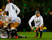 27.02.2015. Ashbourne Rugby Club, Ireland. Womens 6-Nations international. Ireland versus England. Bianca Blackburn (England) passes the ball from the back of a ruck.