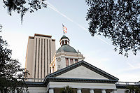TALLAHASSEE, FLA. 3/1/10-FLORIDA OLD CAPITOL CH07-The cupola of the Old Capitol, foreground, and Capitol buildings in Tallahassee, Fla...COLIN HACKLEY PHOTO