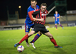 Inverness Caley Thistle v St Johnstone....20.01.15  SPFL<br /> Gary Warren gets to grips with Chris Kane<br /> Picture by Graeme Hart.<br /> Copyright Perthshire Picture Agency<br /> Tel: 01738 623350  Mobile: 07990 594431