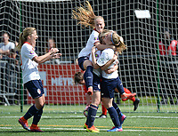 20170514 - LILLE , FRANCE : LOSC's Silke Demeyere pictured jumping on goalscorer Jana Coryn (middle) celebrating her third goal of the game during the 21 st competition game between the women teams of Lille OSC and La Roche Sur Yon in the 2016-2017 season of the Second Division A D2F A at stade Lille Metropole , Saturday 14th May 2017 ,  PHOTO Joke Vuylsteke | Sportpix.Be