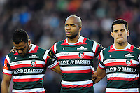 Telusa Veainu, JP Pietersen and Matt Toomua of Leicester Tigers line up for a minute silence in honour of the late Anthony Foley. European Rugby Champions Cup match, between Leicester Tigers and Racing 92 on October 23, 2016 at Welford Road in Leicester, England. Photo by: Patrick Khachfe / JMP