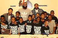 NEW YORK, NY - NOVEMBER 23, 2016 Derrick Rose, Kyle O'Quinn & Carmelo Anthony attend the Educational Alliance Boys & Girls Club Thanksgiving Event, November 23, 2016 in New York City. Photo Credit: Walik Goshorn / Mediapunch