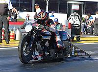 Nov. 11, 2012; Pomona, CA, USA: NHRA pro stock motorcycle rider Eddie Krawiec during the Auto Club Finals at at Auto Club Raceway at Pomona. Mandatory Credit: Mark J. Rebilas-