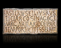 6th century Inscription of the great hall of the synagogue of Nam-Ham-mam-Lif in the Roman province of Africa Proconsularis, present day Tunisia. The mosaic floor of the vestibule (porticus) was an offering from Asterius son of Rusticus, the Head of the Jewish community who was working in the Naro jewellers trade. The mosaic reads in Latin  &quot;Asterius, filius Rustici, arcosinagogi, margaritari, (de d(onis) dei partemporticites-selavit&quot;.  The Bardo National Museum, Tunis Tunisia.  Against a black background.<br /> <br /> The so called synagogue of Naro (Hammam-Lif, Tunisia), discovered in 1883, is a square buil-ding (20 by 20 m), consisting of several rooms and hallways communicating with an inner courtyard. The plan is inspired by traditional domestic architecture of Roman Africa. The room, dedicated to religious ceremonies, was paved with a magnificent mosaic of several figured panels with an iconography highlighting Judaeo-Christian concepts, attesting a proselyte attitude addressing a local Judaic community, who was very active between the late fifth c. and the early sixth century AD.