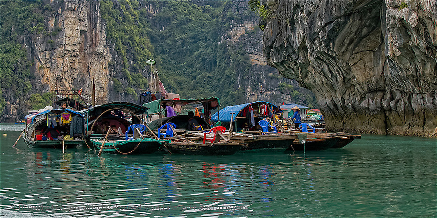 "Floating Village in Ha Long Bay in Gulf of Tonkin, Vietnam.  This print was selected for the Newton Open Studios ""Invitational"" showcasing work of artists who previously received top juror awards."