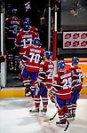 22 April 2009: Members of the Montreal Canadiens step off the ice after being defeated by the Boston Bruins in Game 4 of the NHL Eastern Conference Quarterfinals at the Bell Centre in Montreal, Quebec, Canada. The Bruins advanced to the Eastern Conference Semi-Finals, eliminating the Canadiens from Stanley Cup competition with a 4-1 win and series sweep. ***** Editorial Sales Only ***** Mandatory Credit: Ed Wolfstein Photo