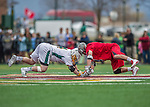 18 April 2015:  University of Vermont Catamount Face Off Specialist Luc LeBlanc (left), a Sophomore from Essex, VT, faces off against University of Hartford Hawk Midfielder Dylan Protesto, a Freshman from Media, PA, at Virtue Field in Burlington, Vermont. The Cats defeated the Hawks 14-11 in the final home game of the 2015 season. Mandatory Credit: Ed Wolfstein Photo *** RAW (NEF) Image File Available ***