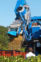 Machine harvest. Despagne Vineyards and Chateaux, Bordeaux, France