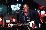 Little Jimmy King, blues guitarist, Memphis, Tennessee on Beale Street. Little Jimmy King was an American Memphis blues guitarist, singer and songwriter. A left-handed guitarist who played the instrument upside down. Died 2002.