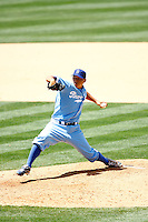 4 May 2011: #56  Hong-Chih Kuo throwing a pitch on the mound while the Cubs defeated the Dodgers 5-1 during a Major League Baseball game at Dodger Stadium in Los Angeles, California.  Dodgers players are wearing Brooklyn Dodger 1940's throwback jersey uniforms and the Cubs are also wearing throwback retro jersey uniforms. **Editorial Use Only**