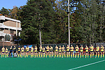 15 November 2015: Michigan's players line up for player introductions. The University of North Carolina Tar Heels played the University of Michigan Wolverines at Francis E. Henry Stadium in Chapel Hill, North Carolina in a 2015 NCAA Division I Field Hockey Tournament Quarterfinal match. UNC won the game 1-0.