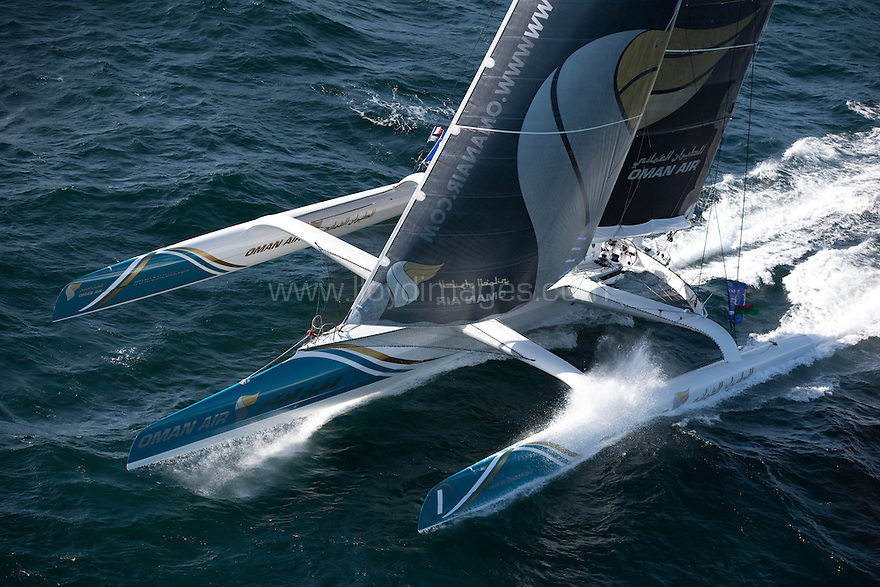 "Pictures of the Oman Air ""Majan"" trimaran in training prior to the solo transatlantic race ""The Route du Rhum 2010"""