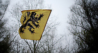 Flemish &quot;Flandrien&quot; Flag at the finish<br /> <br /> Flandriencross Hamme 2014