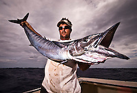 October 2008, Bermuda. A big Wahoo (acanthocybium solandri) caught in the waters of Bermuda by a sport fisherman in his 30s on live bait. Color