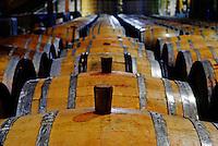 Overview of wine aging in OAK BARRELS at FIRESTONE VINEYARD - CALIFORNIA