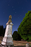This is the grave marker for Gertrude, (b. 1833, d. 1889) one of the early members of the Lotzgesell family, one of the local pioneer families who settled the Sequim WA valley in the mid-1850s. Their barn lies in the valley below the cemetery. Under the Big Dipper at midnight.