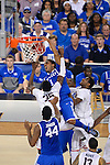 07 APR 2014: James Young (1) of the University of Kentucky dunks over Amida Brimah (35) of the University of Connecticut takes on the  during the 2014 NCAA Men's DI Basketball Final Four Championship at AT&T Stadium in Arlington, TX.  Connecticut defeated Kentucky 60-54 to win the national title. Brett Wilhelm/NCAA Photos