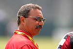 27 June 2004: League commissioner Tony DiCicco talks with Kristen Luckenbill (right, reflected in sunglasses). The San Diego Spirit defeated the Carolina Courage 2-1 at the Home Depot Center in Carson, CA in Womens United Soccer Association soccer game featuring guest players from other teams.