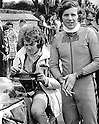 Ferry Brouwer (director of Arai Europe BV) at the time that he aided Phil Read (right) as mechanic.
