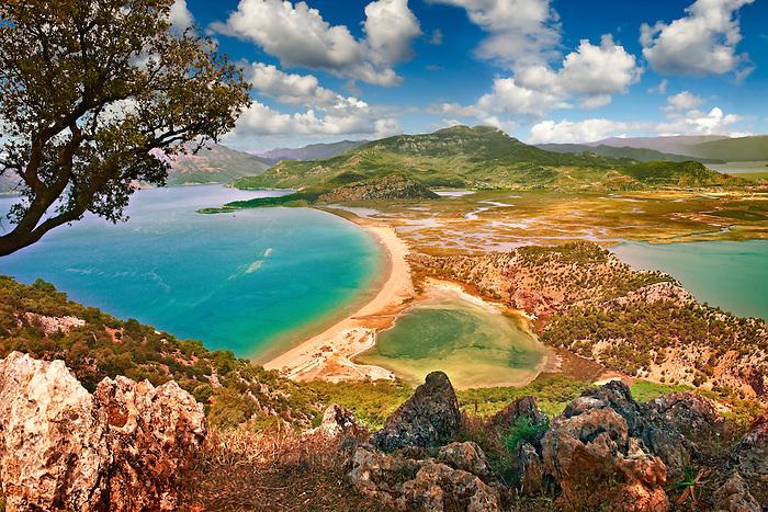 Iztuzu Beach at the mouth of the Dalyan Çay? River delta. Köyce?iz-Dalyan Special Environmental Protection Area for loggerhead sea turtle nests. Mediterranean coast Turkey
