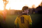 Alvechurch FC 3 Highgate United 0, 26/12/2016. Lye Meadow, Midland Football League Premier Division. Home player Josh March pictured during the first-half at Lye Meadow as Alvechurch (in amber) hosted Highgate United in a Midland Football League premier division match. Originally founded in 1929 and reformed in 1996 after going bust, the club has plans to move from their current historic ground to a new purpose-built stadium in time for the 2017-18 season. Alvechurch won this particular match by 3-0, watched by 178 spectators, taking them back to the top of the league. Photo by Colin McPherson.