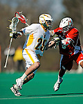 30 April 2011: University of Vermont Catamount midfielder Luke Ryder, a Sophomore from Worcester, MA, in action against the Stony Brook Seawolves at Moulton Winder Field in Burlington, Vermont. The Catamounts fell to the visiting Seawolves 12-9 to conclude their America East season. Mandatory Credit: Ed Wolfstein Photo