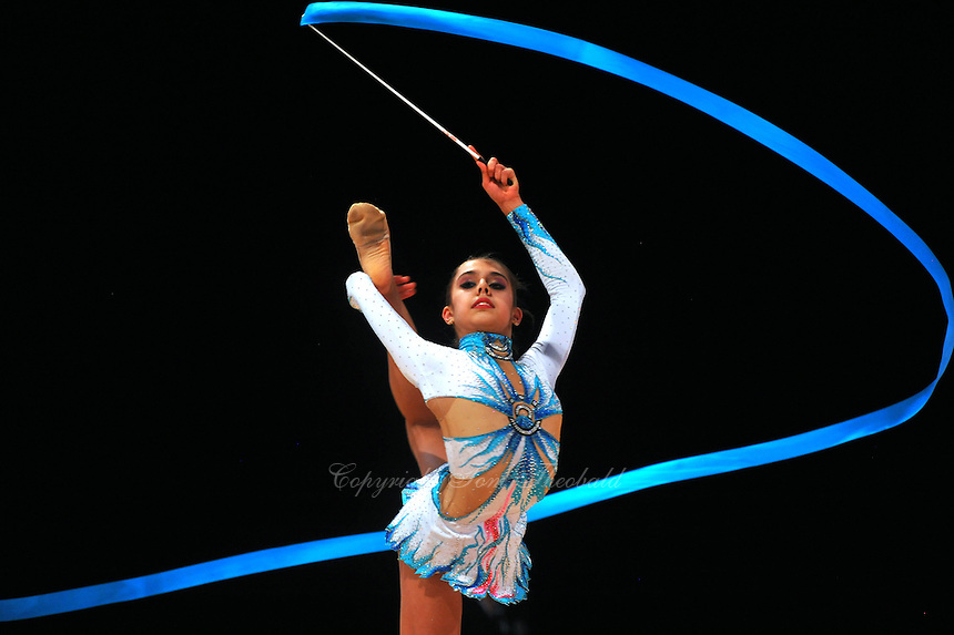 Margarita Mamun of Russia performs with ribbon during event finals at World Cup Montreal on January 30, 2011.  (Photo by Tom Theobald)