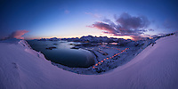 Panoramic winter view over Ytresand beach, Moskenesøy, Lofoten Islands, Norway