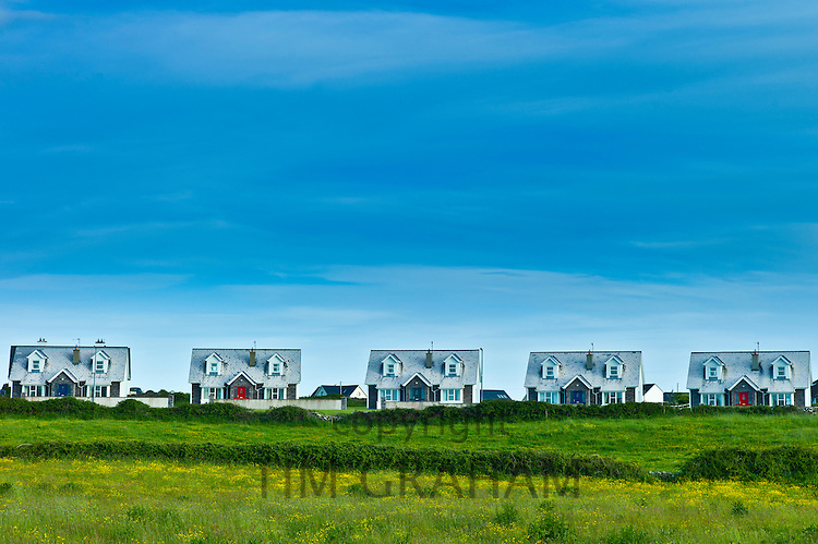 Newly built holiday homes at Liscannor in County Clare, West Coast of Ireland