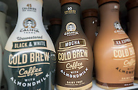 Bottles of Califia Farms brand ready-to-drink coffee with almond milk in a supermarket in New York on Wednesday, May 25, 2016. Coffee makers are throwing their weight into canned and bottled coffee, both cold brew and traditional in hopes that consumers will pick up on the fad. Ready-to-drink coffee sales in the U.S. have grown in the double digits in the last five years. Nut milks have also grown in popularity in the last few years. (© Richard B. Levine)