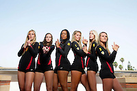 10 August 2010:  Freshman teammates  on the Pac-10 NCAA College Women's Volleyball team for the USC Trojans Women of Troy photographed at the Galen Center on Campus in Southern California.  Sam Hirschmann, Sara Shaw, Falyn Fonoimoana, Alexis Olgard, Kirby Burnham, Natalie Hagglund. .Images are for Personal use only.  No Model Release, No Property Release, No Commercial 3rd Party use. .Photo Credit should read: &copy;2010ShellyCastellano.com