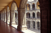 Arches in the Antiguo Colegio de San Ildefonso, a former Jesuit college in downtown Mexico City. This 18th-century building is famous for its murals by Mexican artists, including Diego Rivera, Jose Clemente Orozco, and David Alfaro Siqueiros.